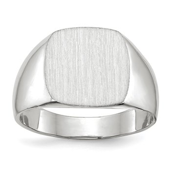 14k White Gold 12.5x12.5mm Closed Back Signet Ring