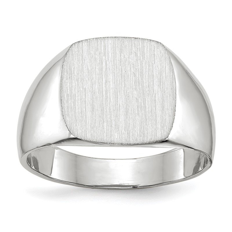 Quality Gold 14k White Gold 12.5x12.5mm Closed Back Signet Ring