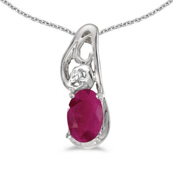 14k White Gold Oval Ruby And Diamond Pendant