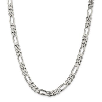 Sterling Silver Rhodium-plated 7.75mm Figaro Chain