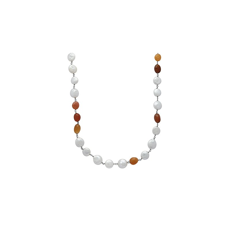 "Honora Honora Sterling Silver 12-14mm White Coin Freshwater Cultured Pearls With Orange Chalcedonyx 36"" Necklace"