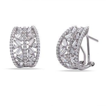 14K Post and Clip Diamond Earrings . Featuring 122 round  Diamonds   0.92CT and 24 Baguettes 0.86CT