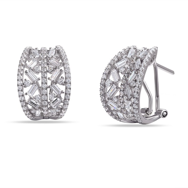 Shula NY 14K Post and Clip Diamond Earrings . Featuring 122 round  Diamonds   0.92CT and 24 Baguettes 0.86CT