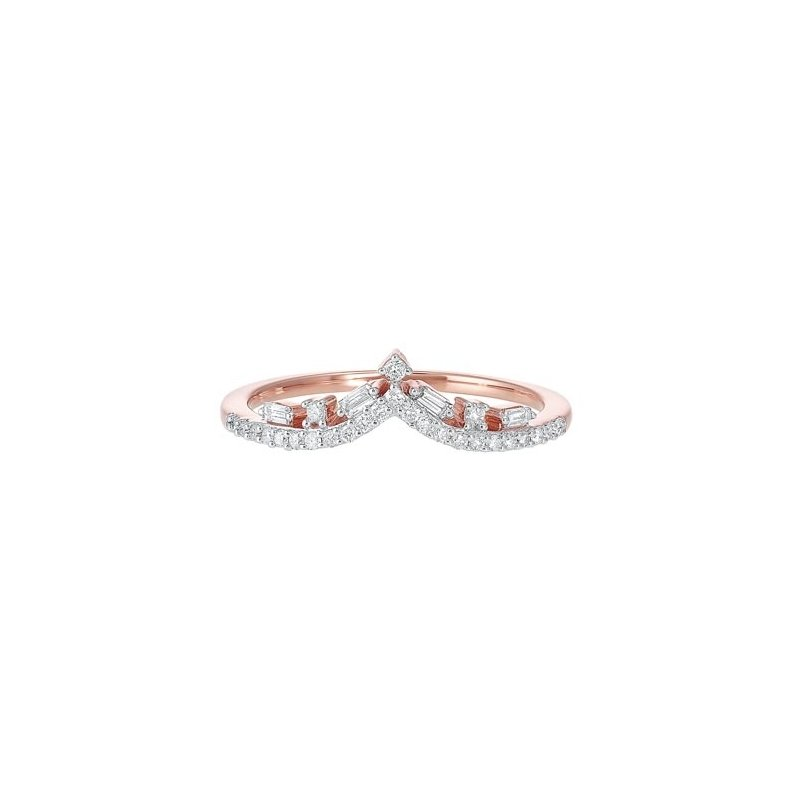 Gems One Diamond V-Shaped Stackable Wedding Band in 14k Gold (⅕ ctw)