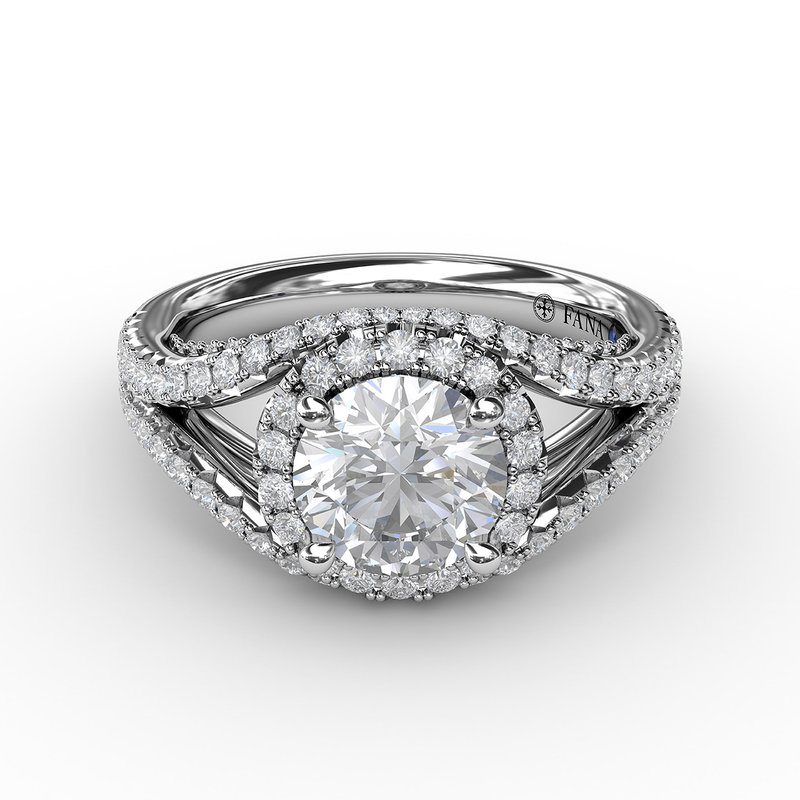 Fana Round Cut with Halo and Dramatic Split Band