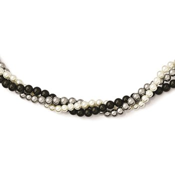 Sterling S Majestik Rh-pl 3 Row 4-5mm Wht/Grey/Blk Imitat Shell Pearl Neckl