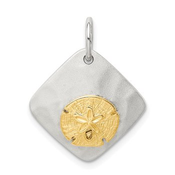 Sterling Silver Gold-Tone Seashell Brushed Pendant