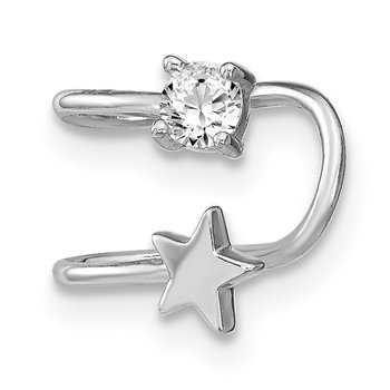 Sterling Silver Rhodium-plated CZ and Star Single Earring Cuff