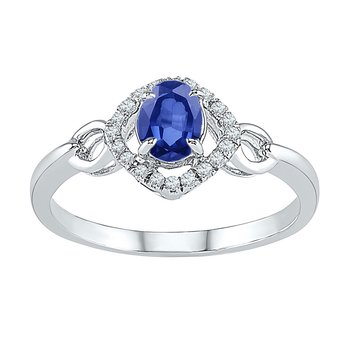 10kt White Gold Womens Oval Lab-Created Blue Sapphire Solitaire Ring 5/8 Cttw