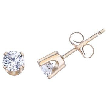 14k Yellow Gold .50 Ct Diamond Stud Earrings