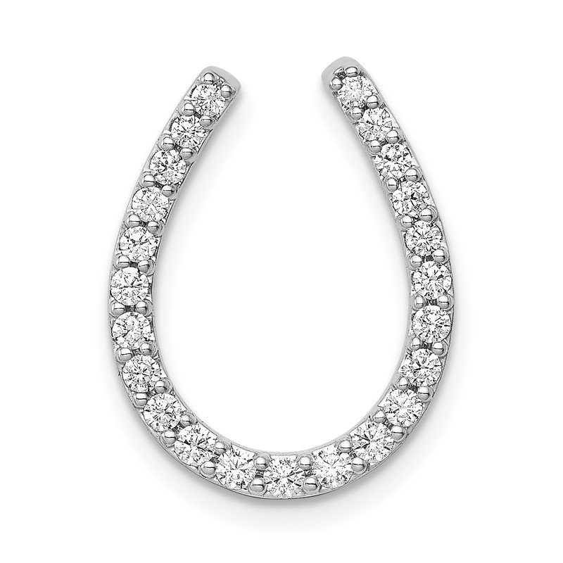 Quality Gold 14k White Gold 1/3ct. Diamond Horseshoe Chain Slide