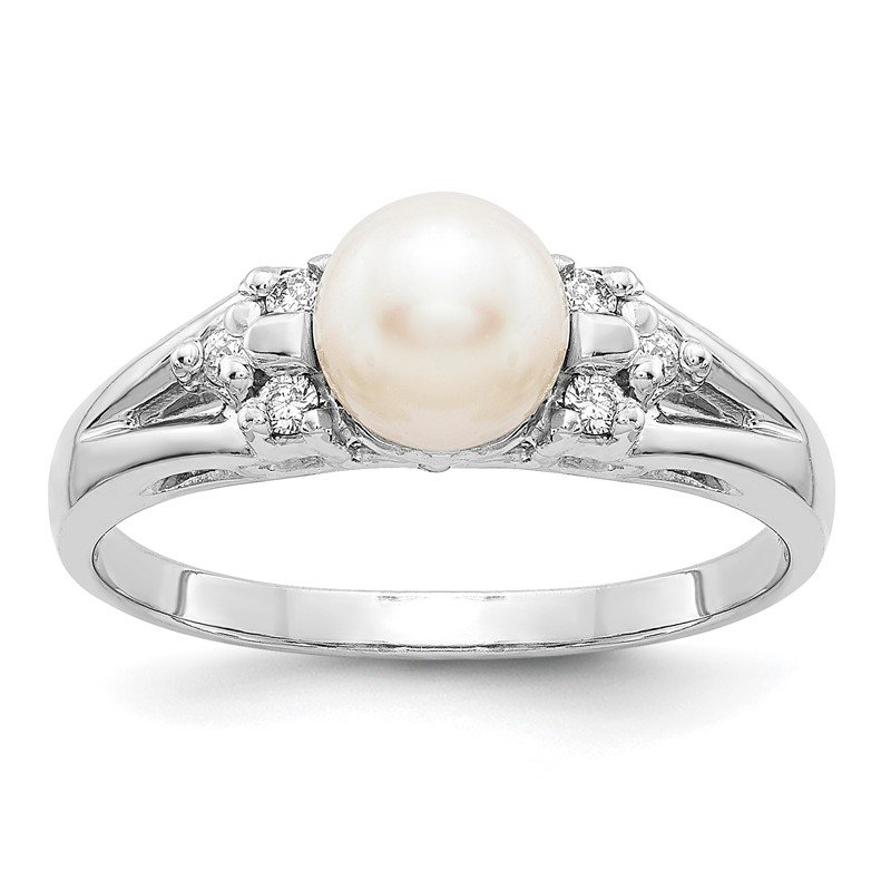 Quality Gold 14k White Gold 6mm FW Cultured Pearl AA Diamond ring