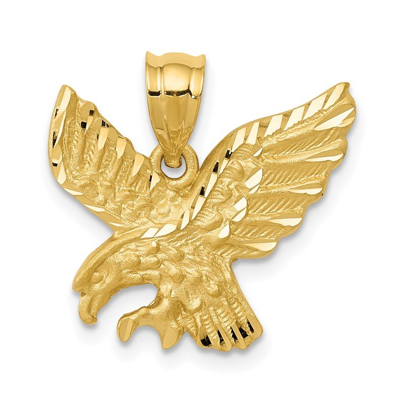 Quality Gold 14k Satin Diamond-cut Eagle Pendant