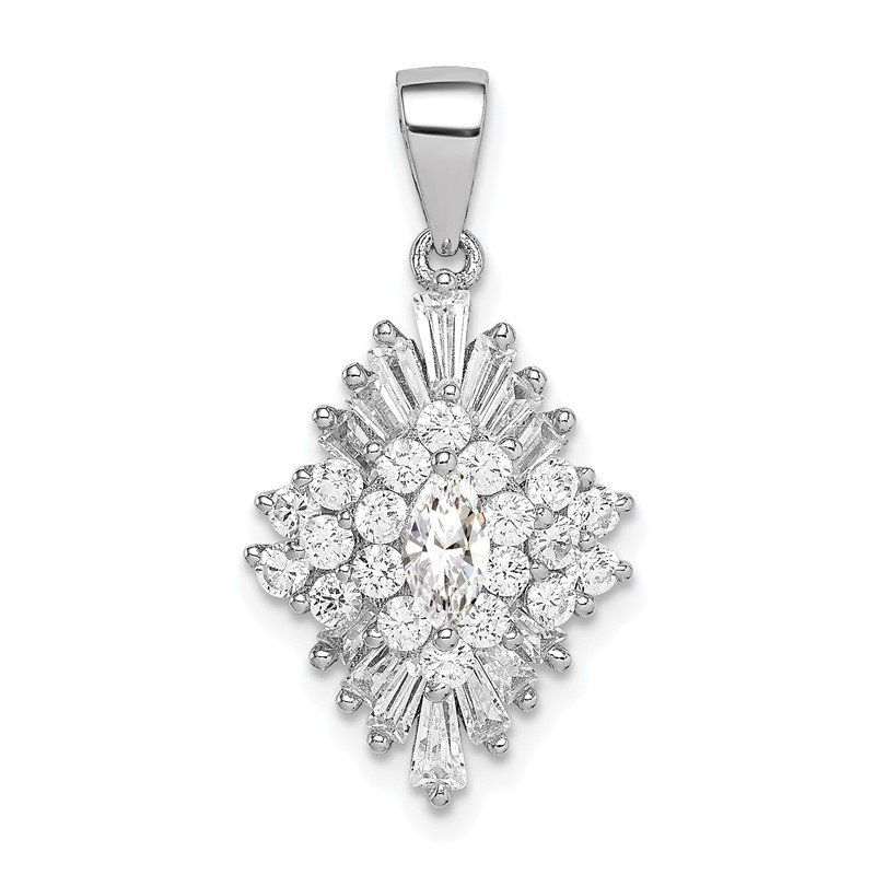 Quality Gold Sterling Silver Rhodium-plated Polished Marquise CZ Fancy Pendant