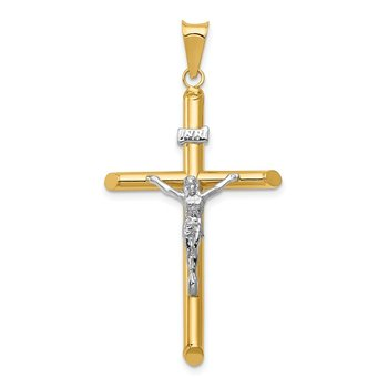 14k Two-Tone Polished Jesus Crucifix Pendant
