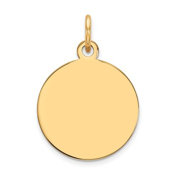 14k Plain .035 Gauge Circular Engravable Disc Charm