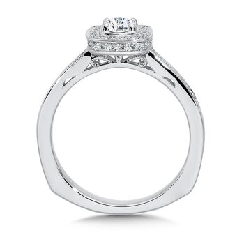 Halo Engagement Ring Mounting in 14K White Gold (.24 ct. tw.)