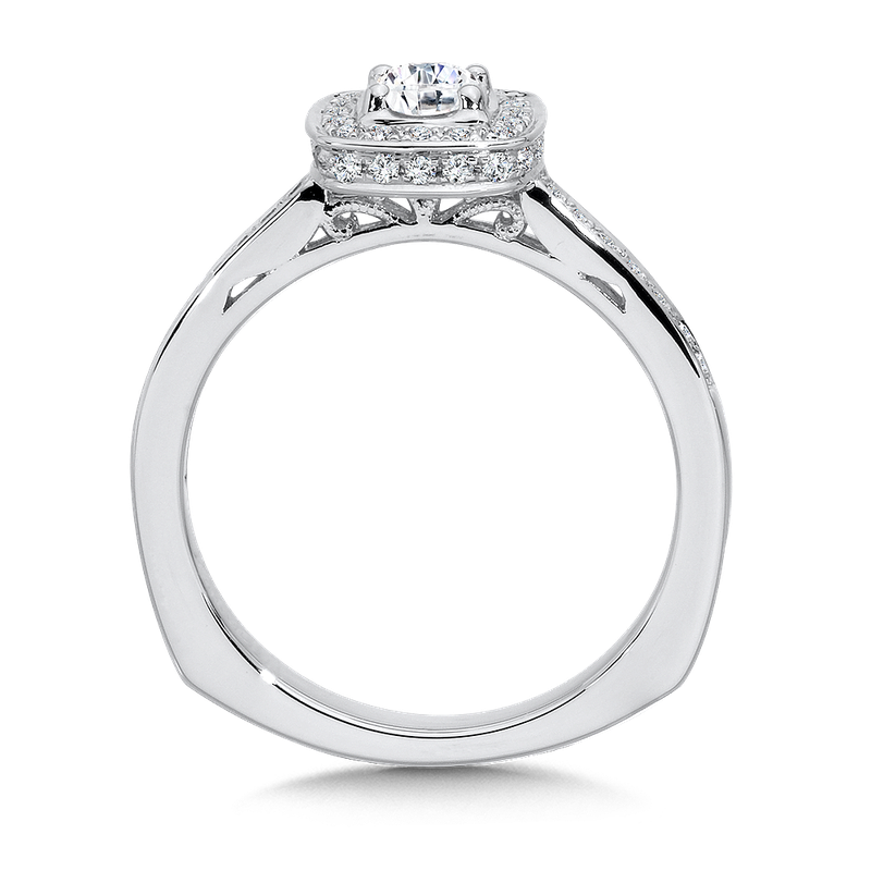 Valina Halo Engagement Ring Mounting in 14K White Gold (.24 ct. tw.)