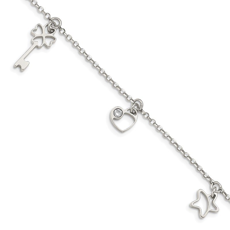Quality Gold Sterling Silver CZ Heart, Star & Key w/1in. Ext. Bracelet