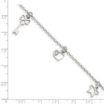Sterling Silver CZ Heart, Star & Key w/1in. Ext. Bracelet