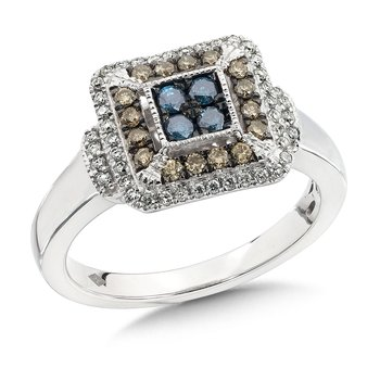 Pave set Blue, Cognac and White Diamond Ring, 14k White Gold  (1/2 ct. tw.)