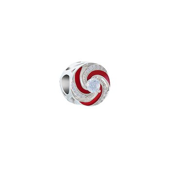 Holiday Swirl Disc Bead - Brt SS, Swarovski White PB Zirconia, Transparent Red Enamel