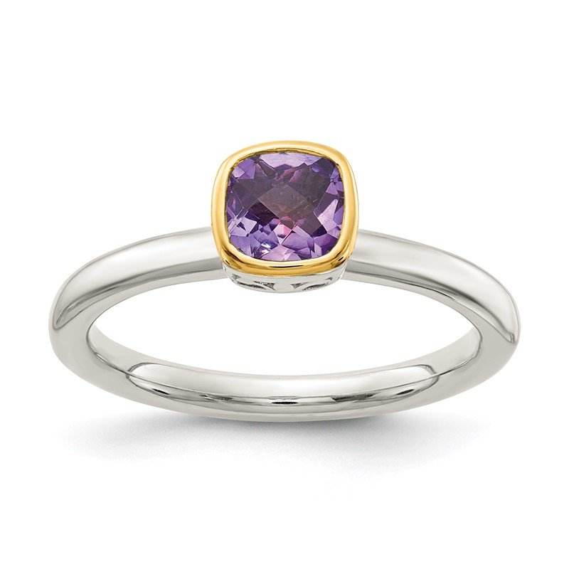 J.F. Kruse Signature Collection Sterling Silver w/ 14K Accent Amethyst Ring