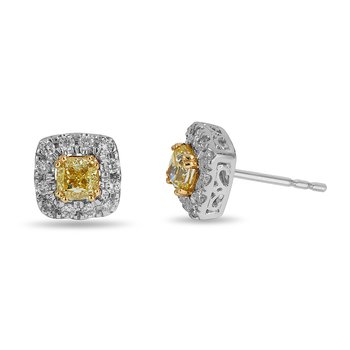 14K WG Diamond Square Halo Stud Earring with Fancy Yellow Princess Dia Center