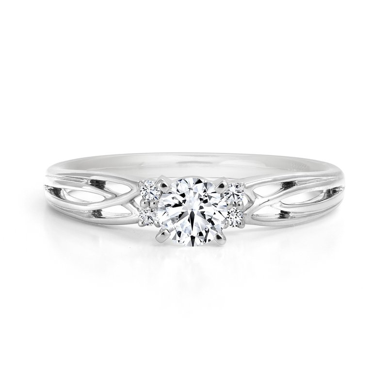 Solitaire Engagement Ring with Diamond Accents