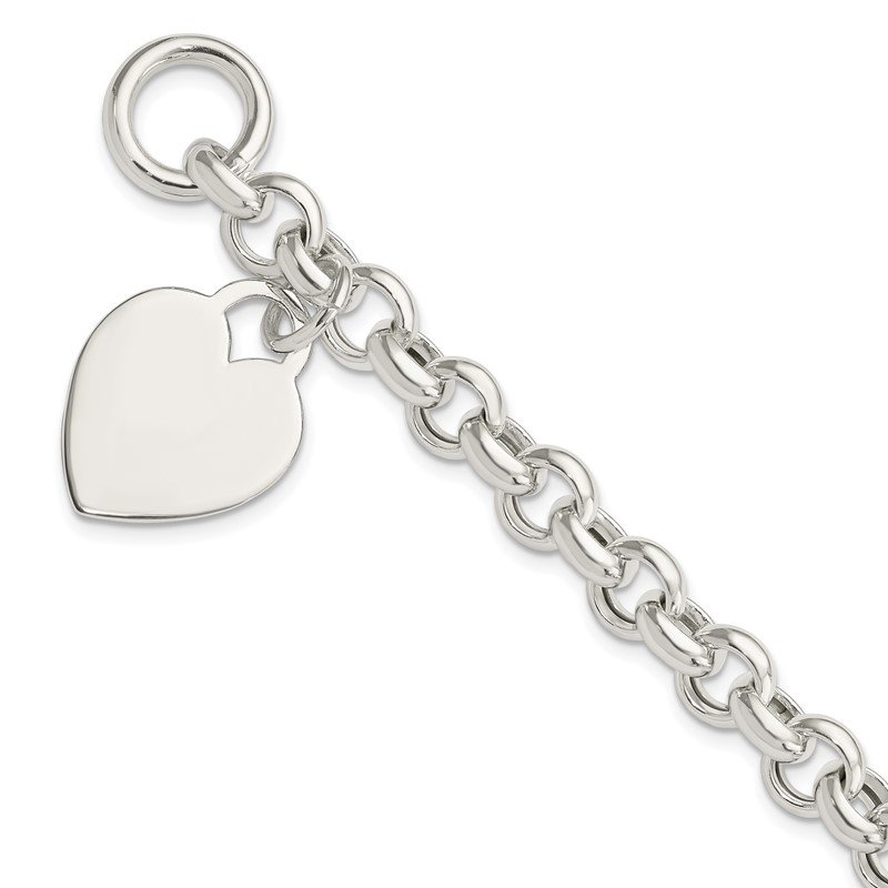 Quality Gold Sterling Silver Engraveable Heart Toggle Bracelet