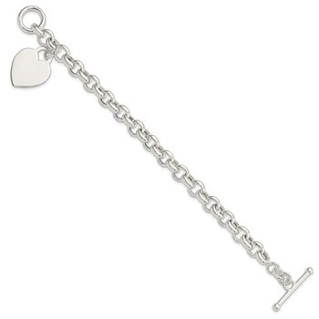 Sterling Silver Engraveable Heart Toggle Bracelet