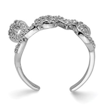 Sterling Silver Rhodium-plated CZ Love Toe Ring