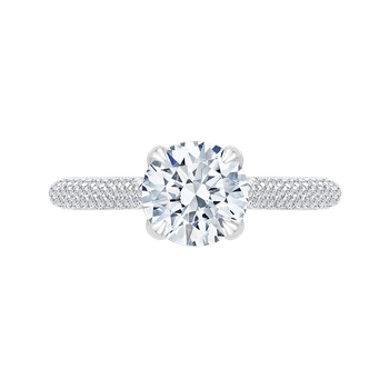 Round Diamond Cathedral Style Engagement Ring In 18K White Gold (Semi-Mount)