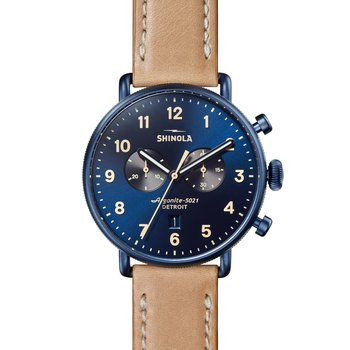 The Canfield Chrono 43mm Midnight Blue Dial Leather Strap Watch