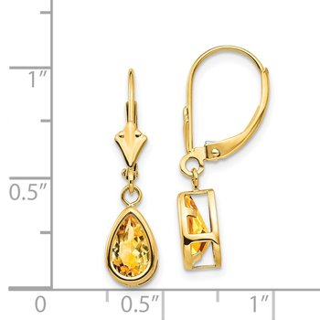 14k 8x5mm Pear Citrine Leverback Earrings