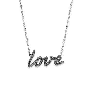 Black Diamond Love Necklace in 14k White Gold and Black Rhodium with 37 Black Diamonds weighing .22ct tw.