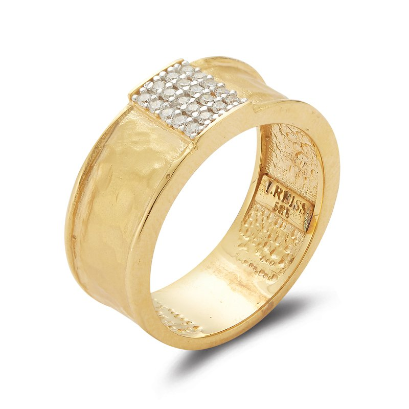 I. Reiss 14K-Y REC. CNTR. RING, 0.15CT