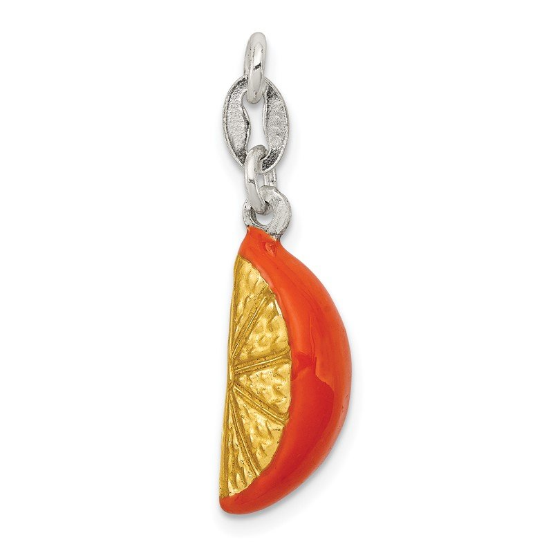 Fine Jewelry by JBD Sterling Silver Enameled Orange Slice Charm