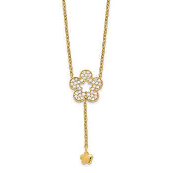 14K Flower CZ Necklace