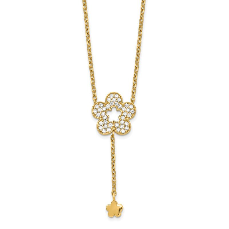 Quality Gold 14K Flower CZ Necklace