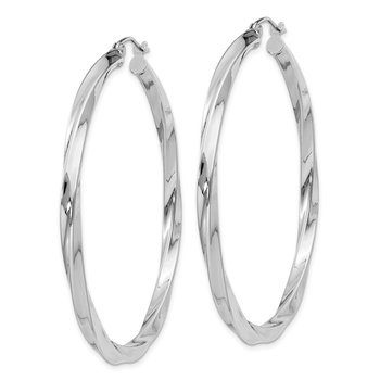 Sterling Silver Rhodium-plated 3x50mmTwisted Hoop Earrings