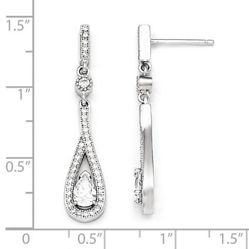 Sterling Silver Brilliant Embers Rhodium-pl CZ Teardrop Dangle Post Earring