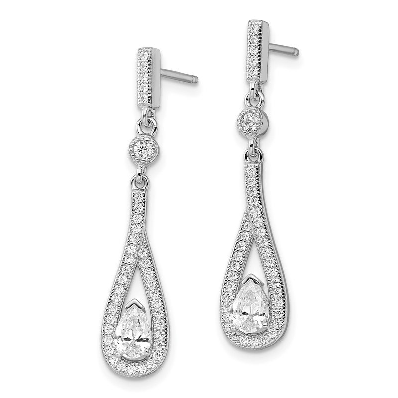 Quality Gold Sterling Silver Brilliant Embers Rhodium-pl CZ Teardrop Dangle Post Earring