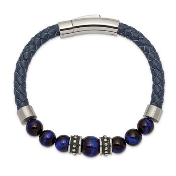 Stainless Steel Antiqued and Polished Blue Tiger's Eye Leather Bracelet