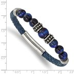 Chisel Stainless Steel Antiqued and Polished Blue Tiger's Eye Leather Bracelet