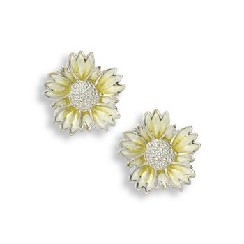 Yellow Coastal Tidytip Flower Stud Earrings.Sterling Silver
