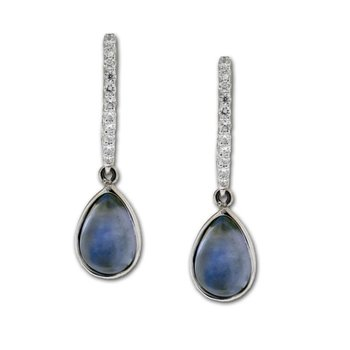 Pear Shape Blue Moonstone & Diamond Dangles