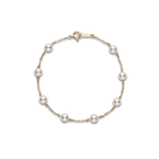 "Mikimoto Akoya Cultured Pearl 7"" Station Bracelet - 18 karat Yellow Gold"