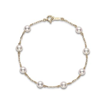 "Akoya Cultured Pearl 7"" Station Bracelet - 18 karat Yellow Gold"