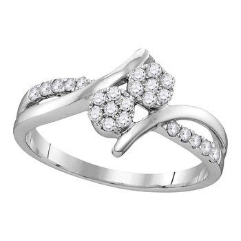 14kt White Gold Womens Round Diamond Double Cluster Bridal Wedding Engagement Ring 1/3 Cttw